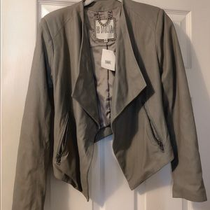 NEW! Gray Leather Jacket